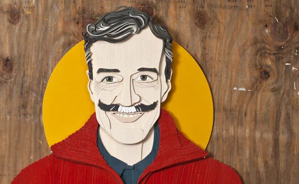 Holzschnitt von Jacques Palminger, der auf der Vorderseite der Februar-Ausgabe des ByteFM Konzertfolders zu sehen ist