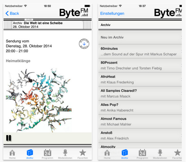 Screenshot aus der ByteFM-iOS-App