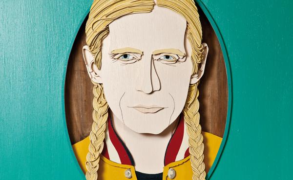 Holzschnitt von Romano, der auf der Vorderseite der März-Ausgabe des ByteFM Konzertfolders zu sehen ist