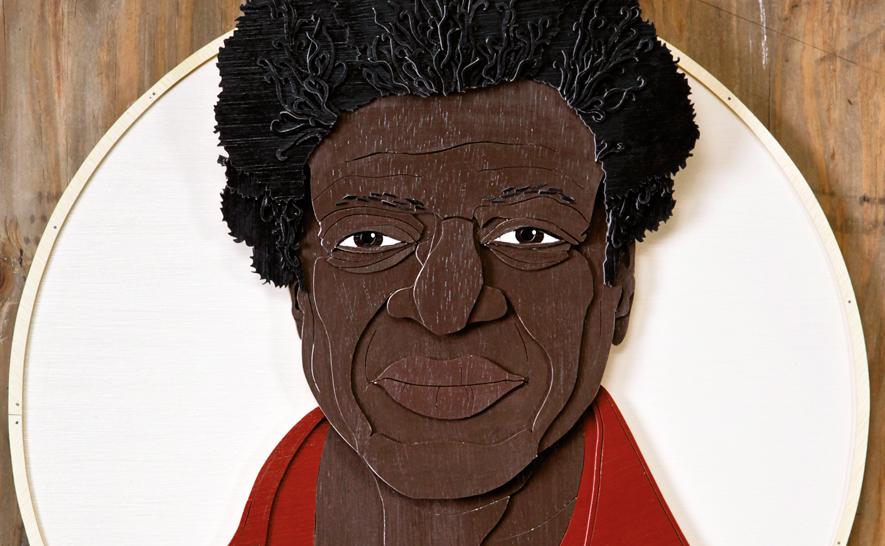 Holzschnitt von Charles Bradley, der auf der Vorderseite der April-Ausgabe des ByteFM Konzertfolders zu sehen ist