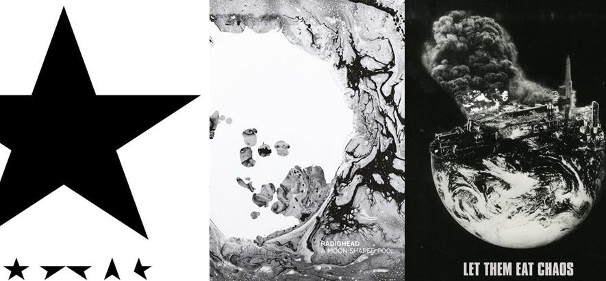 Collage aus dem Albumcovern von David Bowie, Radiohead, Kate Tempest