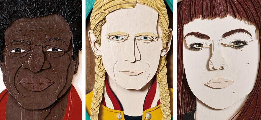 Holzschnitte von Charles Bradley, Romano und Angel Olsen