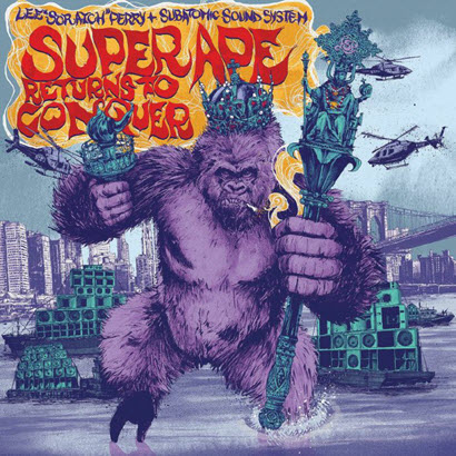 "Cover des Albums ""Super Ape Returns To Conquer"" von Lee ""Scratch"" Perry & Subatomic Sound System (Echo Beach)"