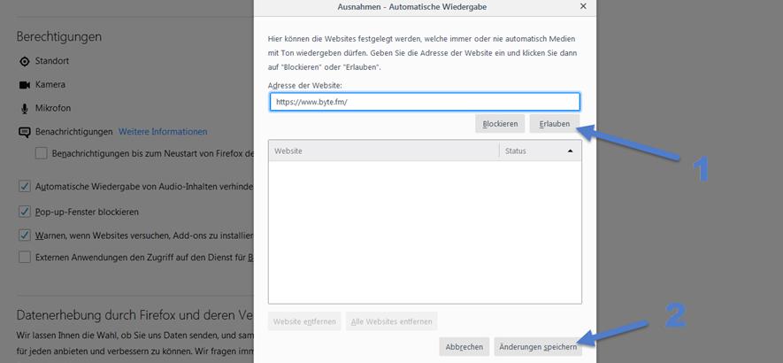 Bild der Einstellungen bei Mozilla Firefox