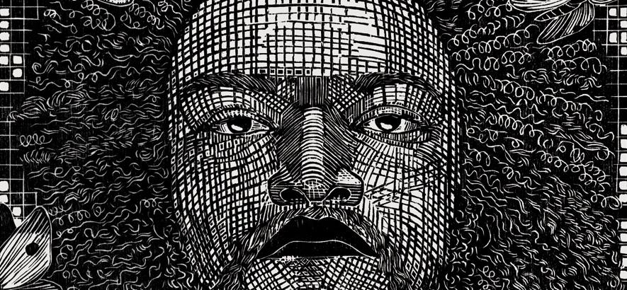 Kamasi Washington als Holzschnitt von Gabriela Jolowicz