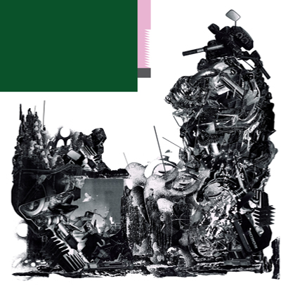 """Cover des Albums """"Schlagenheim"""" von Black Midi, mit schwarz-weißer Illustration und einem grünen Rechteck"""