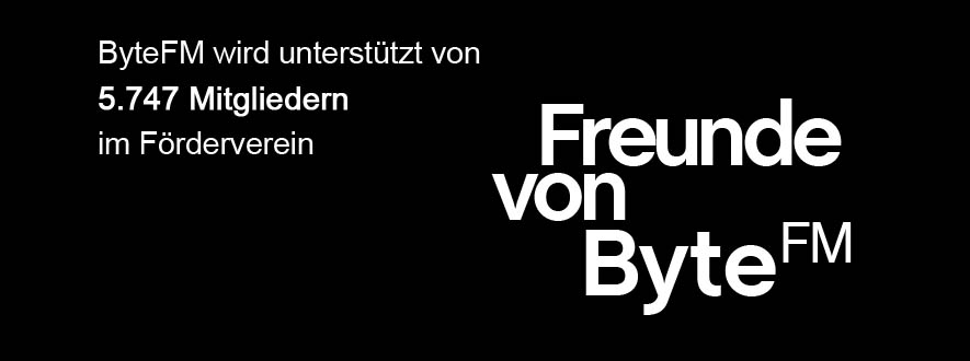 """Bild mit Text: 5747 Mitglieder im Förderverein """"Freunde von ByteFM"""""""