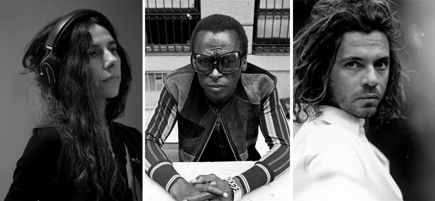 Foto-Collage von PJ Harvey, Miles Davis und Michael Hutchence