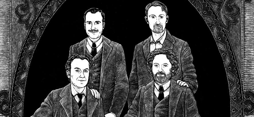 Illustration des Hamburger Kaiser Quartetts, dem Motiv des ByteFM Konzertfolders im Dezember 2019, angefertigt von Line Hoven