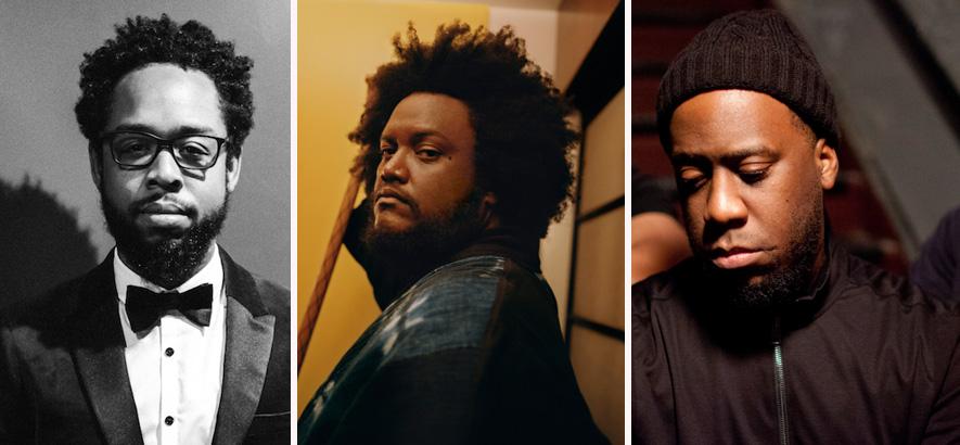 Fotos der Musiker Terrace Martin, Kamasi Washington und Robert Glasper, die zusammen mit 9th Wonder ein Album unter dem Namen Dinner Party veröffentlicht haben.