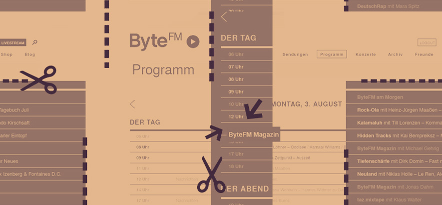 Collage vom ByteFM Sendeplan, der sich ab dem 3. August 2020 ändert