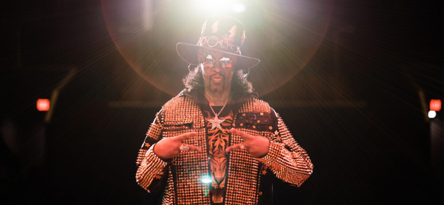 "Bild des Funk-Musikers Bootsy Collins, der ein neues Album mit dem Titel ""The Power Of The One"" angekündigt hat."