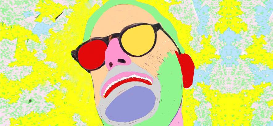 """Pop-Art-Porträt des Sängers Paul Leary, dessen Stück """"Born Stupid"""" heute unser Track des Tages ist."""