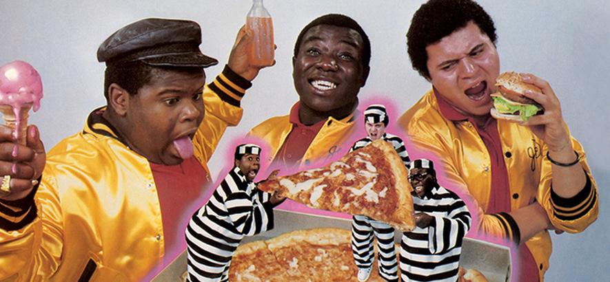"""Albumcover von The Fat Boys - """"Fat Boys"""" (1984), rechts im Bild Prince Markie Dee."""